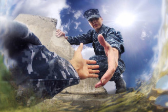 Photo illustration produced by the U.S. Navy supporting the Suicide Prevention program urging Sailors to speak up and seek guidance. Sailors throughout the fleet are encouraged to work together as commands,    units,    installations or other groups to recognize suicidal tendencies and behavior and act to prevent it. (U.S. Navy photo illustration by Mass Communication Specialist Seaman Apprentice Rose Forest/Released)