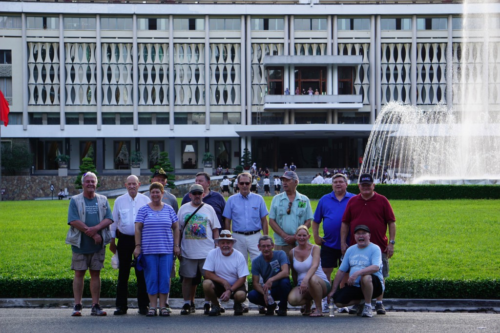 Members of chapter 1078 and their wives in front of the Presidential Palace in Ho Chi Minh.