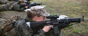 Military women with rifles