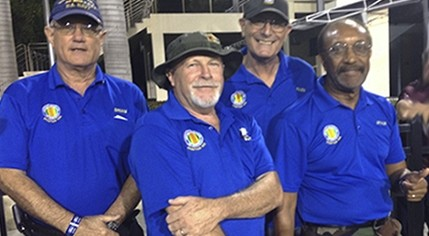 VVA Chapter 1125 participants picured at the FAU Military Appreciation Football Game (from left to right) Brian Wooldridge, Bill Snow, Allen Lehner and Art Brown.