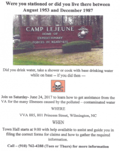 Chapter 885 hosted a Town Hall to assist those who may have gotten ill from contaminated water at Camp Lejeune.