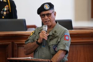 Retired Army 1st Sgt. Dan Mendiola, Chapter 668 Chapter President recites roll call of those who died in the Vietnam War from Guam. Photo courtesy, The Guam Daily Post