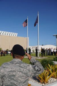 Flag raising ceremony in Guam. Photo courtesy, The Guam Daily Post